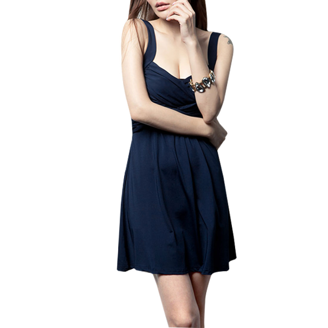 Woman XS Navy Blue Cross Ruffled Detail Bust Stretchy Mini Tank Dress