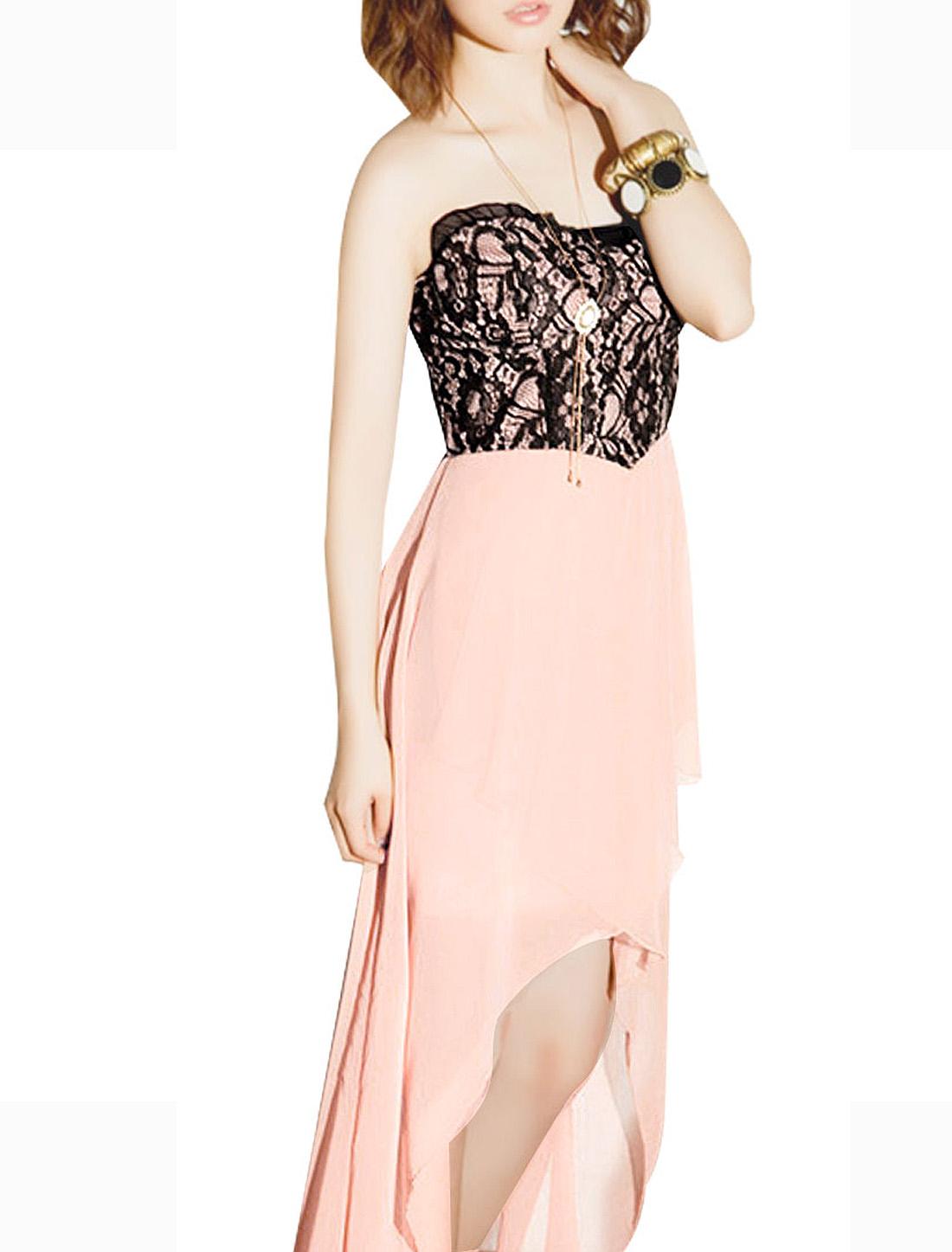 Woman Black Flowers Lace Bust Irregular Hem Chiffon Tube Dress Pink XS