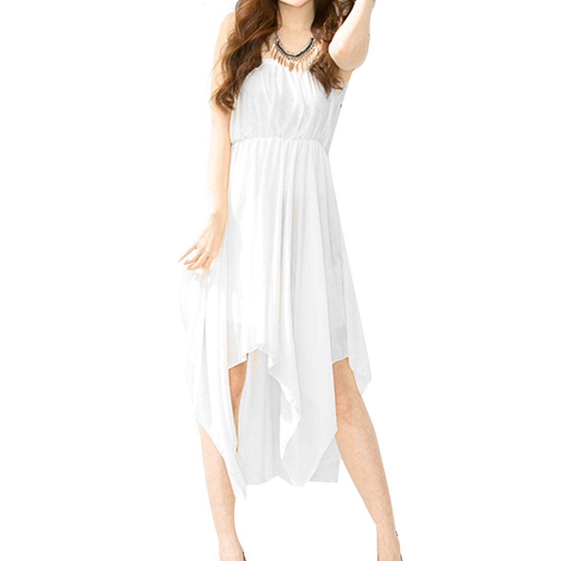 Elastic Bust Inner Lining White Sheer Chiffon Tube Dress XS for Women