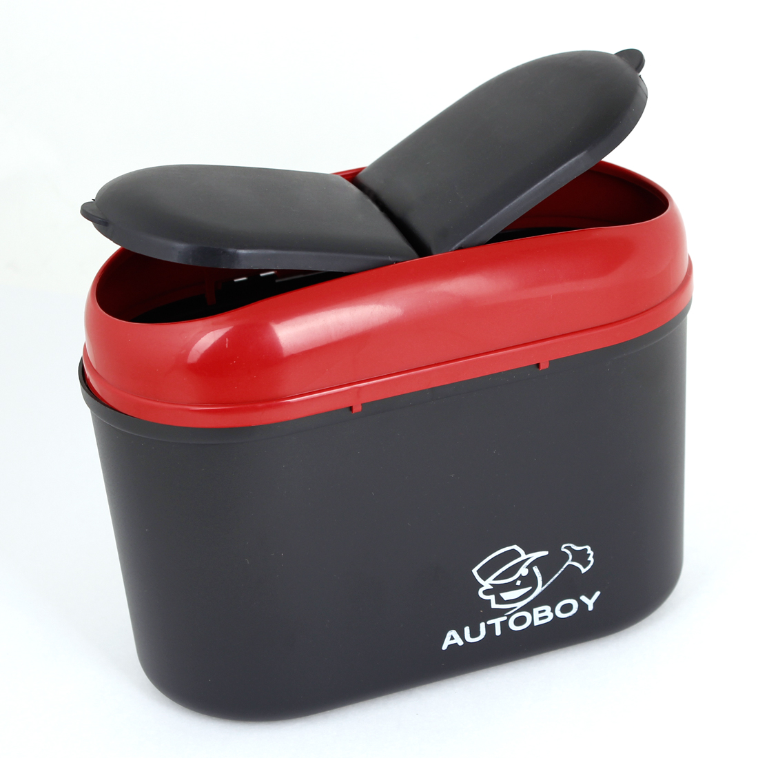 Black Red Plastic Trash Rubbish Garbage Holder Dust Bin for Auto