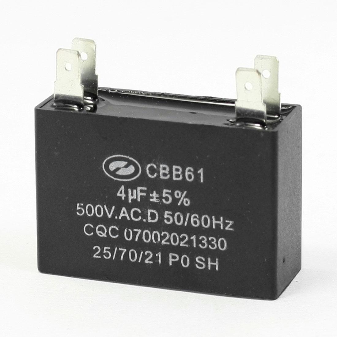 AC 500V 4uF Capacity 4-pin Air Conditioner Fan Motor Capacitor