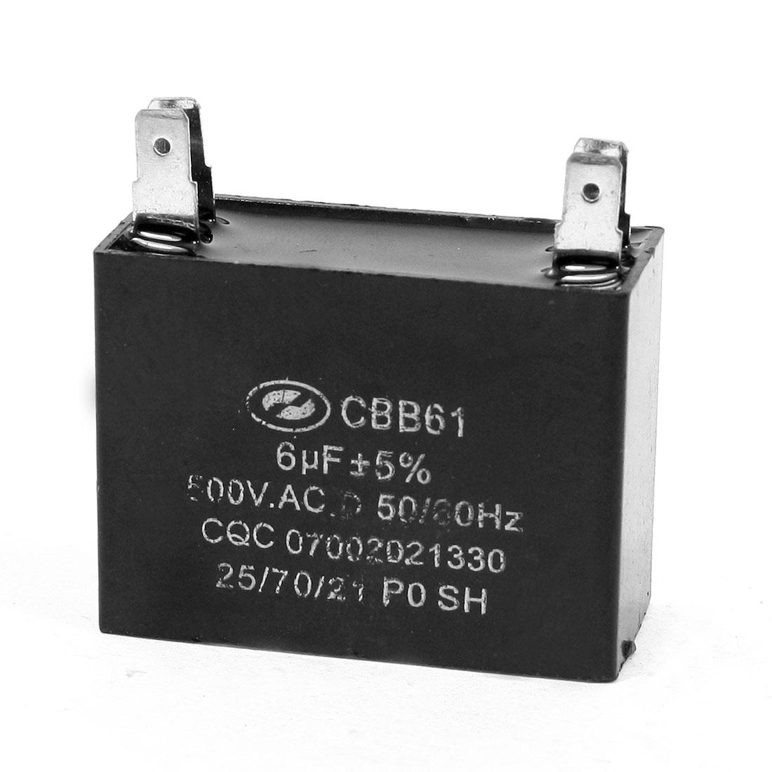 6uF 50/60Hz DIP 4 Pins Motor Run Capacitor AC 500V