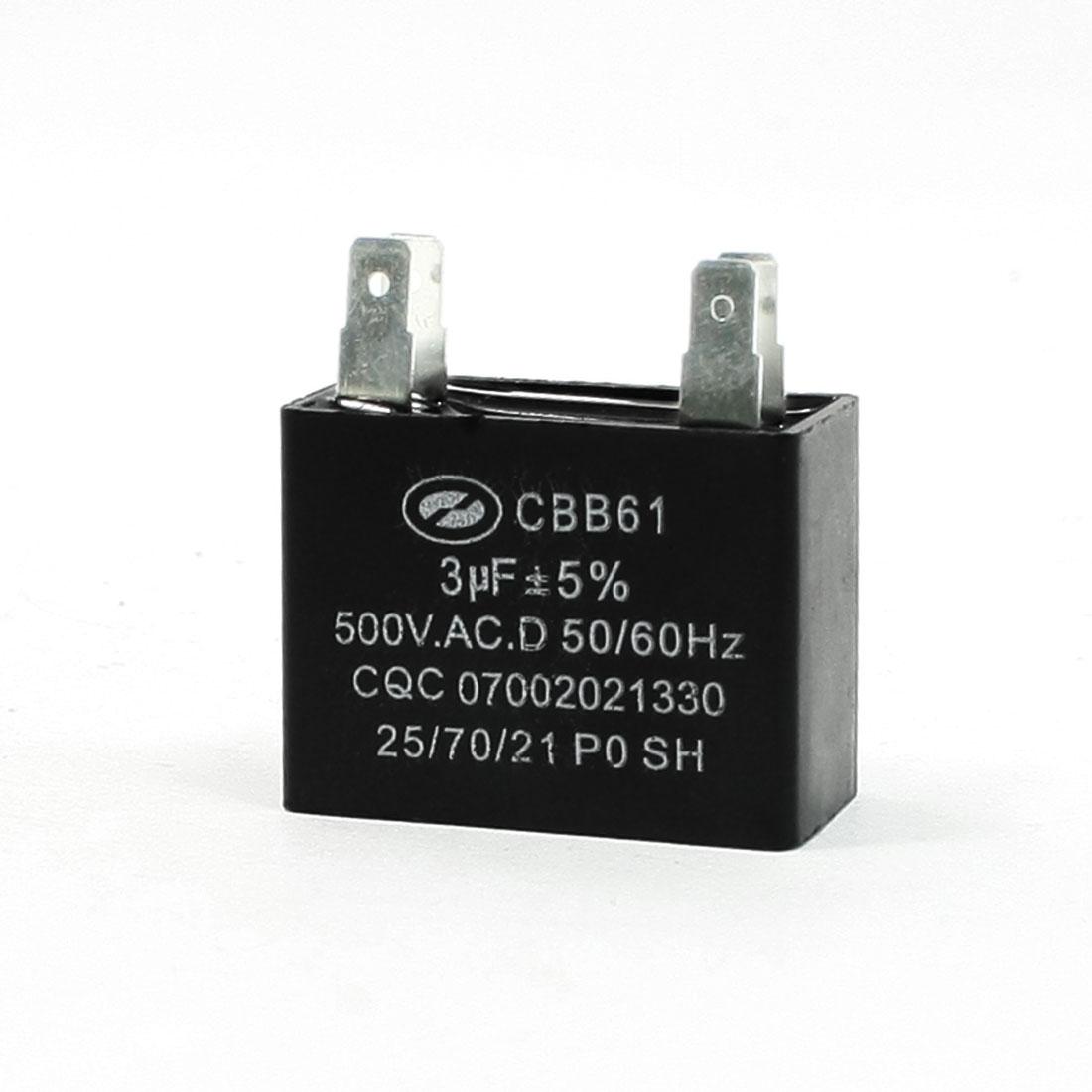 Air Conditioner 4 Pins Motor Run Capacitor 3uF AC 500V 50/60 Hz