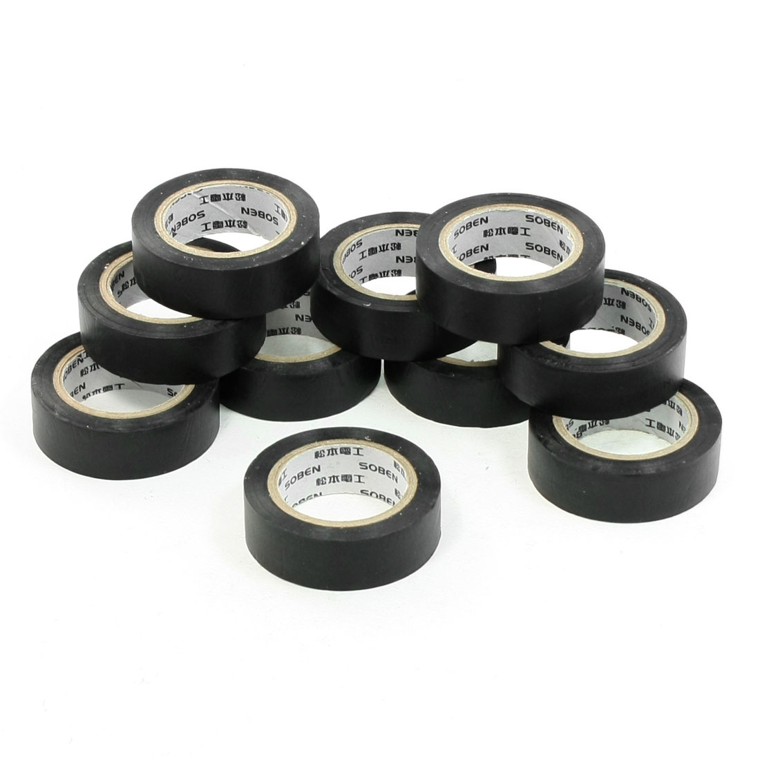 32.8Ft Length Black PVC Adhesive Electrical Insulation Tape Roll 10 Pcs