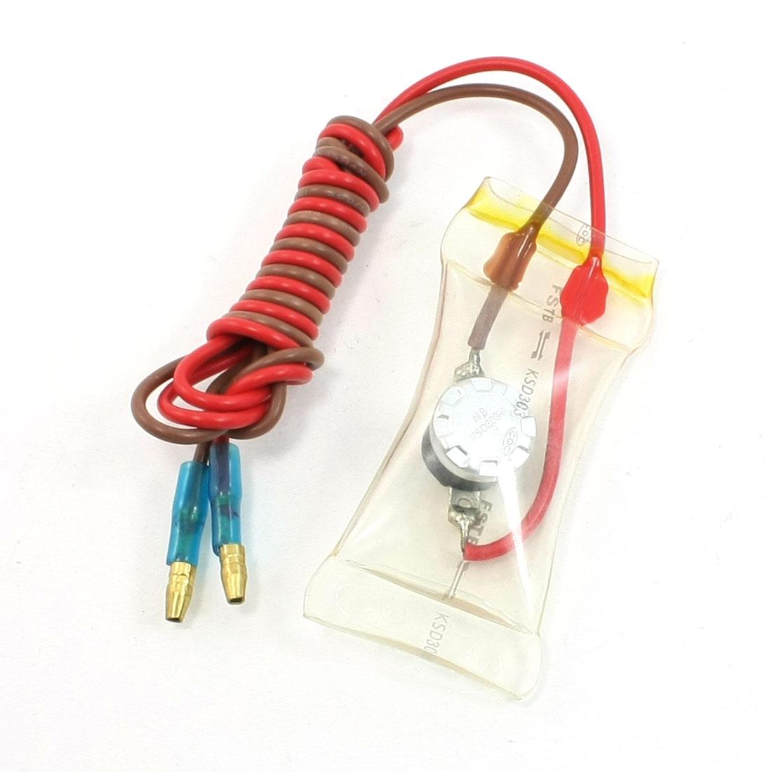 -7 Celsius Bimetal Wired Lead R04 Refrigerator Defrost Thermostat 300V/500V