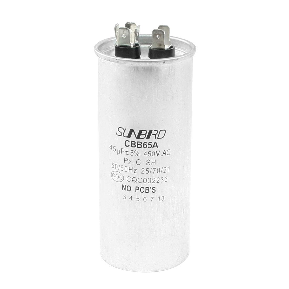 CBB65A AC 450V 45uF Non Polar Air Conditioner Motor Capacitor
