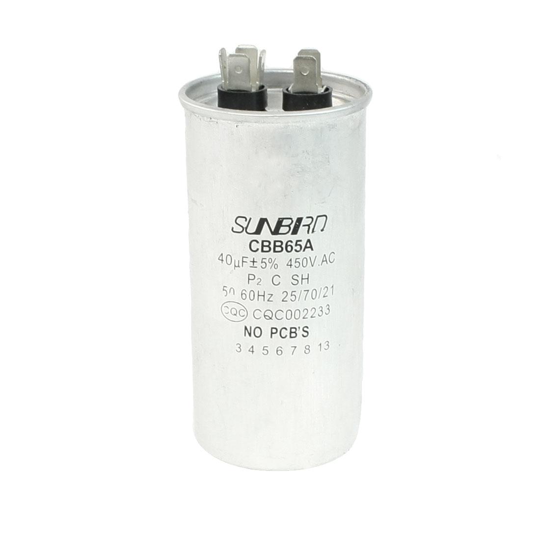 450VAC 40uF Capacity Cylinder Shaped Refrigerator Motor Capacitor CBB65A