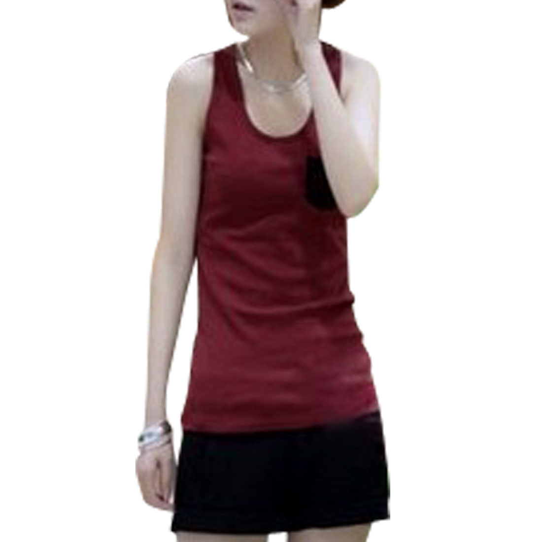 Round Neck Sleeveless Racerback Tank Top Dark Red Black XS for Women