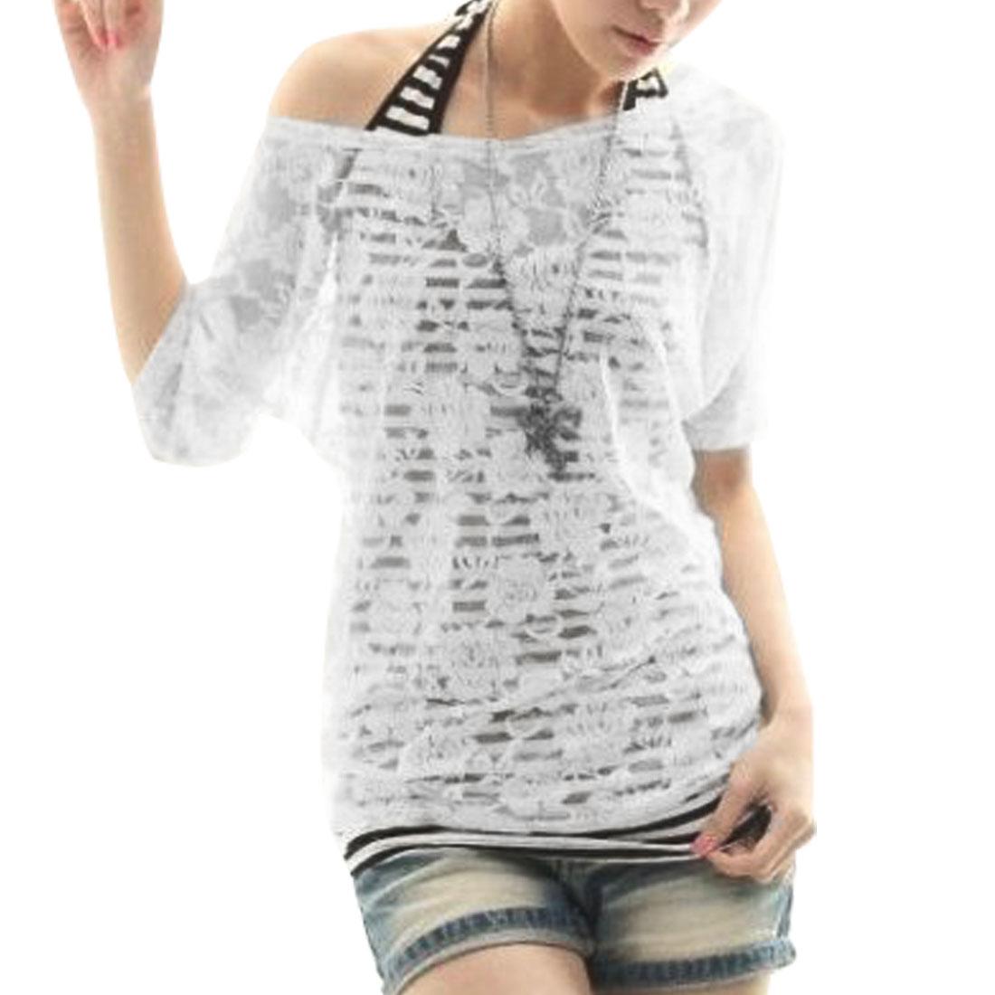 Lady XS Black White Stripes Print Tank Top + Short Sleeve Cropped Top