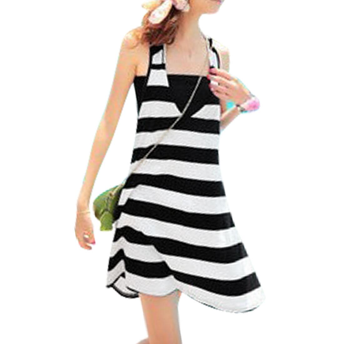 Black White Stripes Pattern Racerback Tank Dress XS w Chest Wrap for Ladies