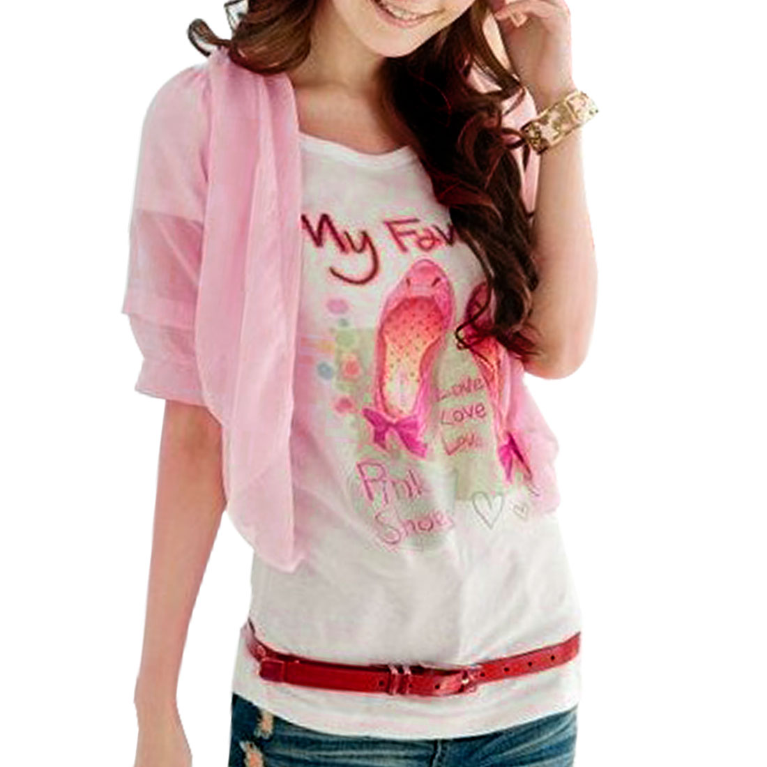 Woman Korea Style Front Opening Two Layer Sleeves Cropped Tops Pink XS