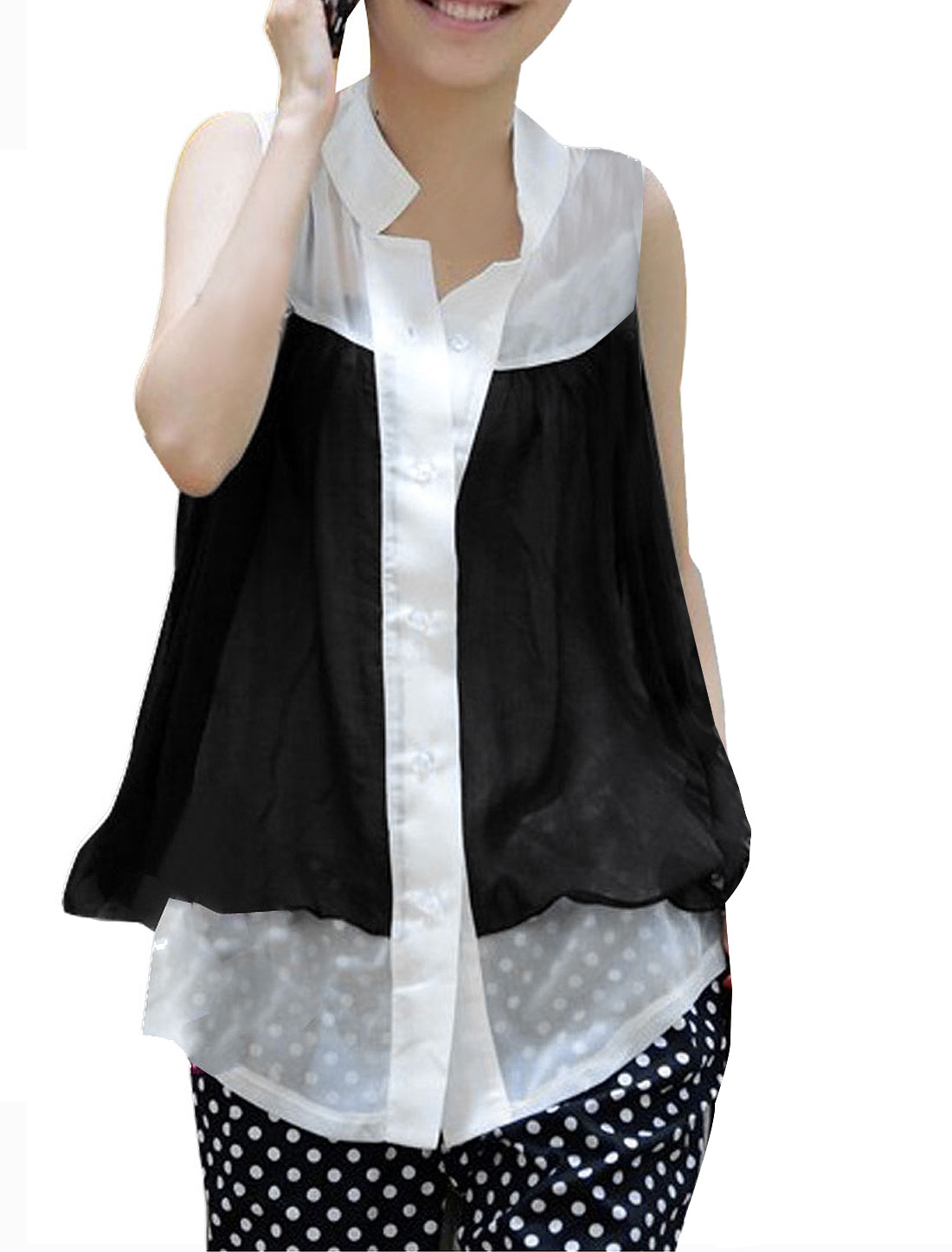 Fashion Sleeveless Black White Chiffon Vest Bluose Top XS for Women