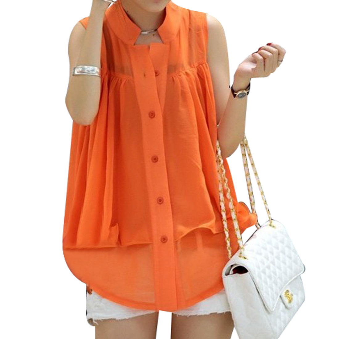 Single Breasted Two Layers Bright Orange Chiffon Vest XS for Ladies