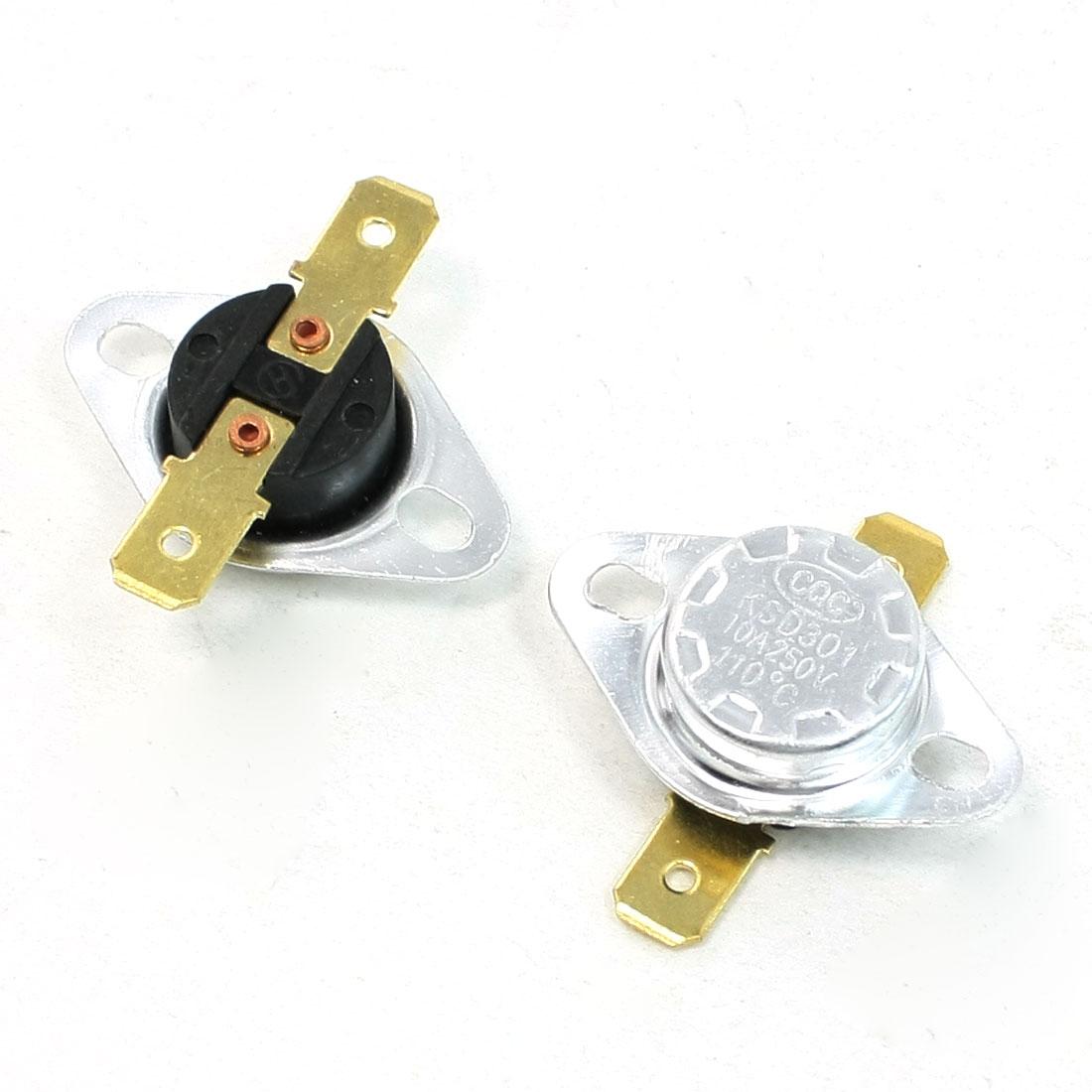 2 Pcs 110C 250V 10A NC Temperature Controlled Plastic Switch KSD301