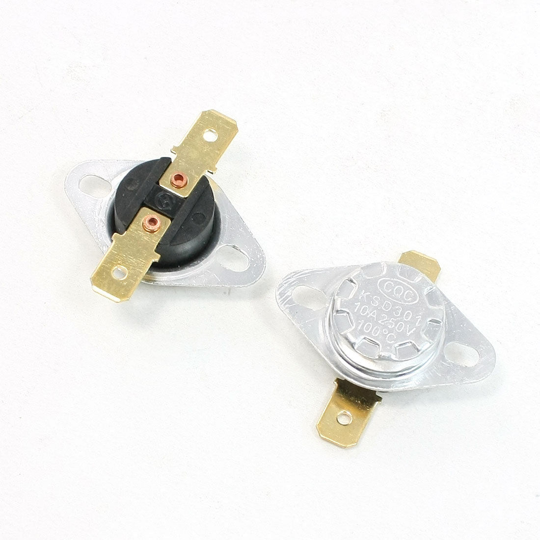 2 Pcs 250V 10 A 100 Celsius Normal Close Temperature Control Thermostat KSD301