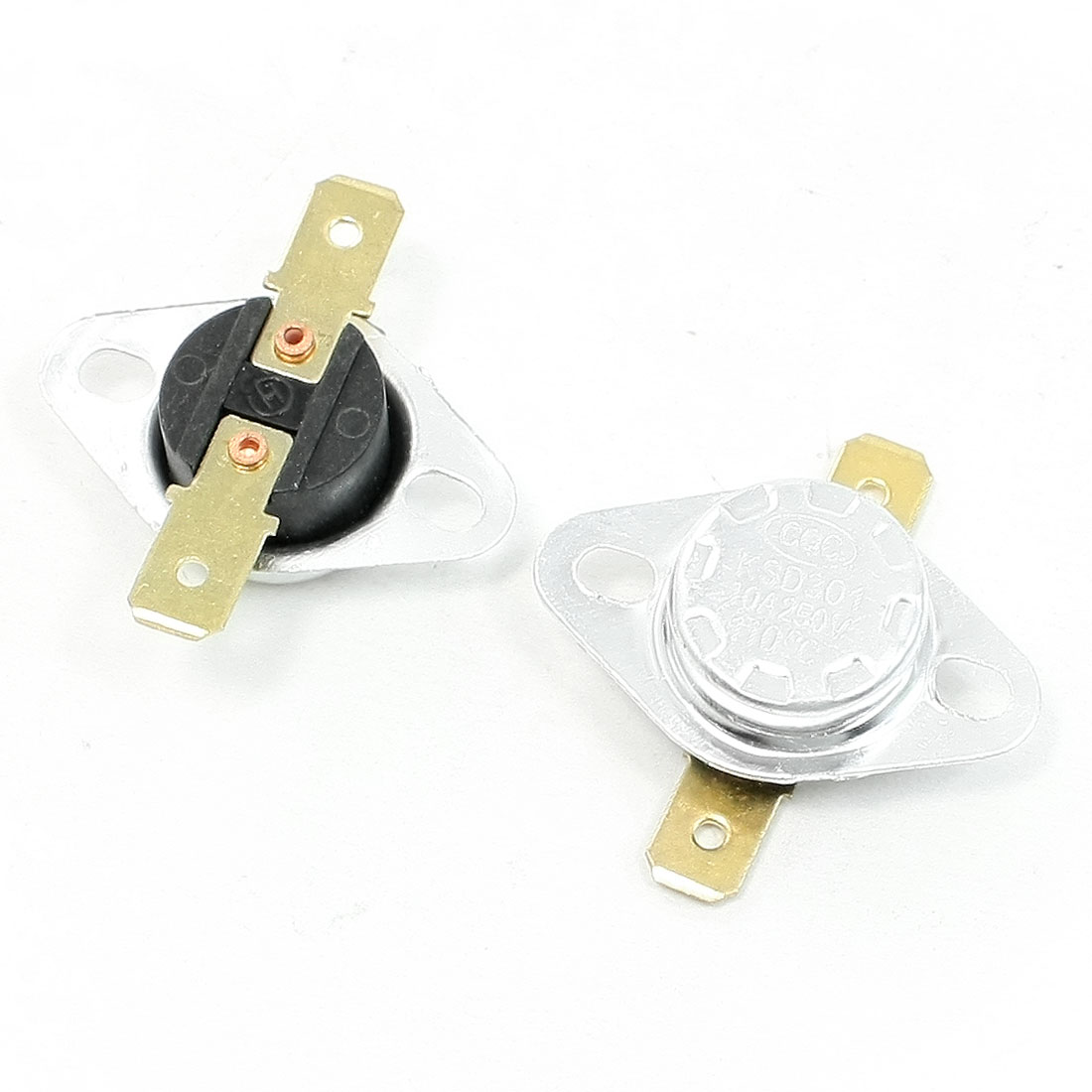 2 Pcs 250V 10A 110 Celsius 230F Temperature Controlled Switch KSD301