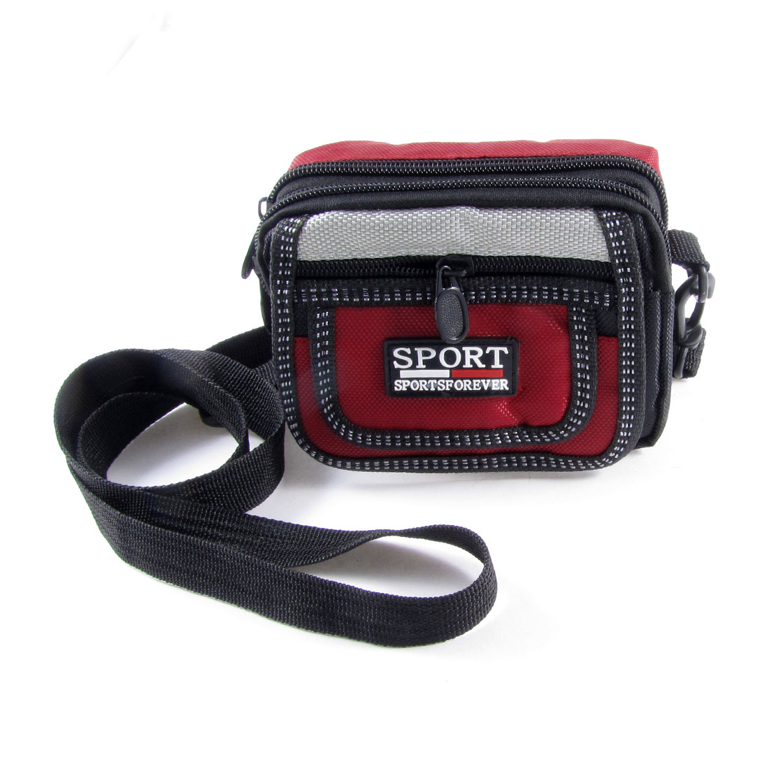 Outdoor Black Carmine 2 Compartment Nylon Phone Digital Camera Bag
