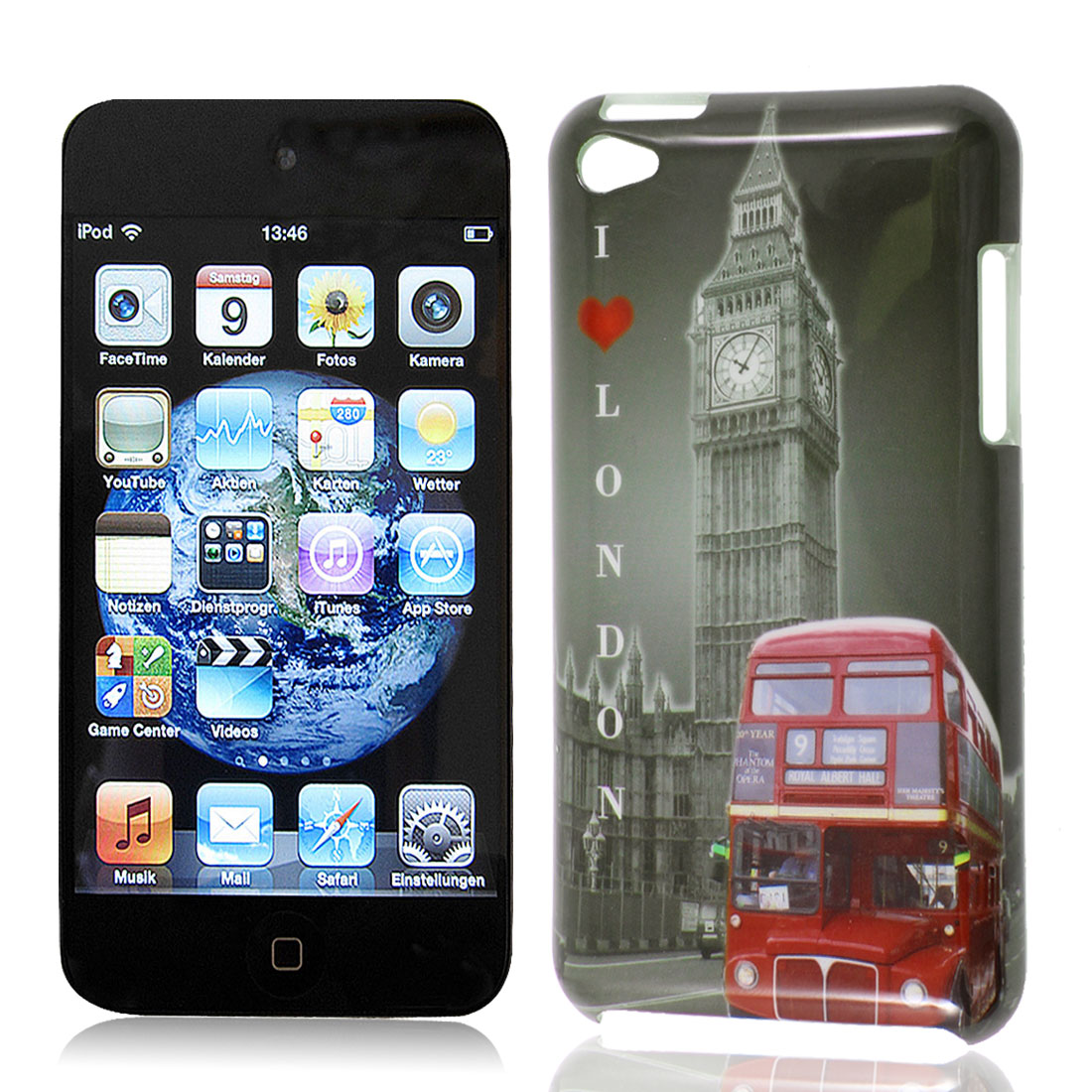 Double Decker Red Bus Big Ben Print Gray IMD Hard Back Case Cover for Apple iPod Touch 4G