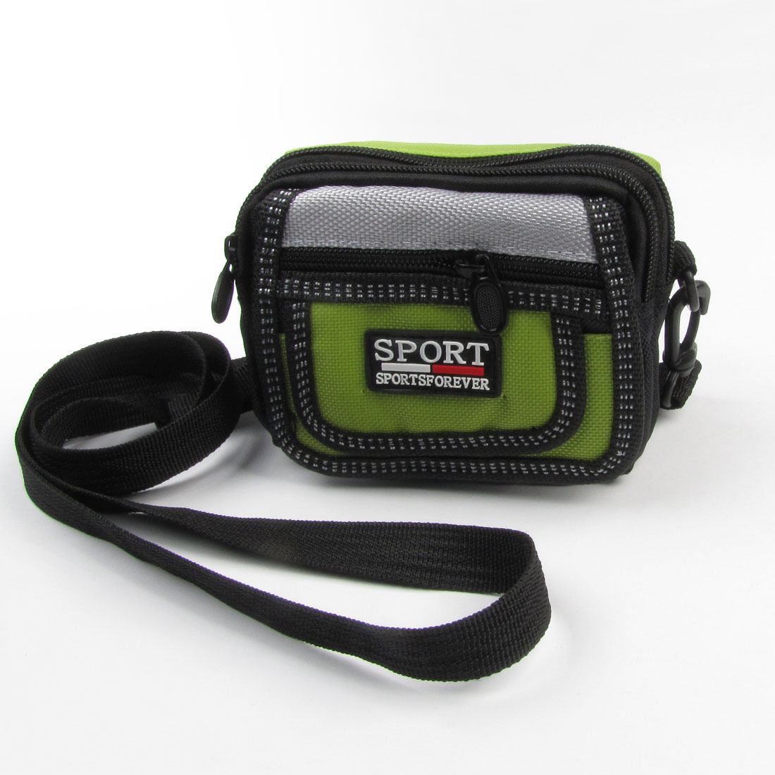 Outdoor Black Light Green 2 Compartment Nylon Phone Digital Camera Bag Case