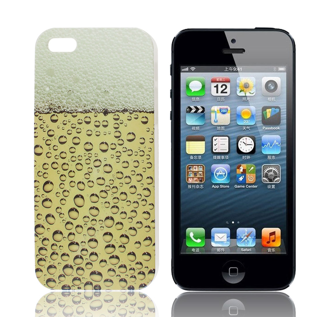 Yellow Beer Bubbles Design IMD Hard Plastic Back Case Cover for iPhone 5 5G