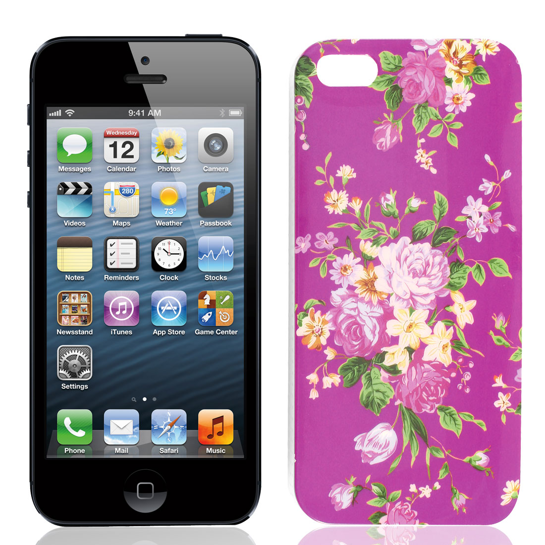 Flower Hard Plastic IMD Back Case Cover Fuchsia for iPhone 5 5G