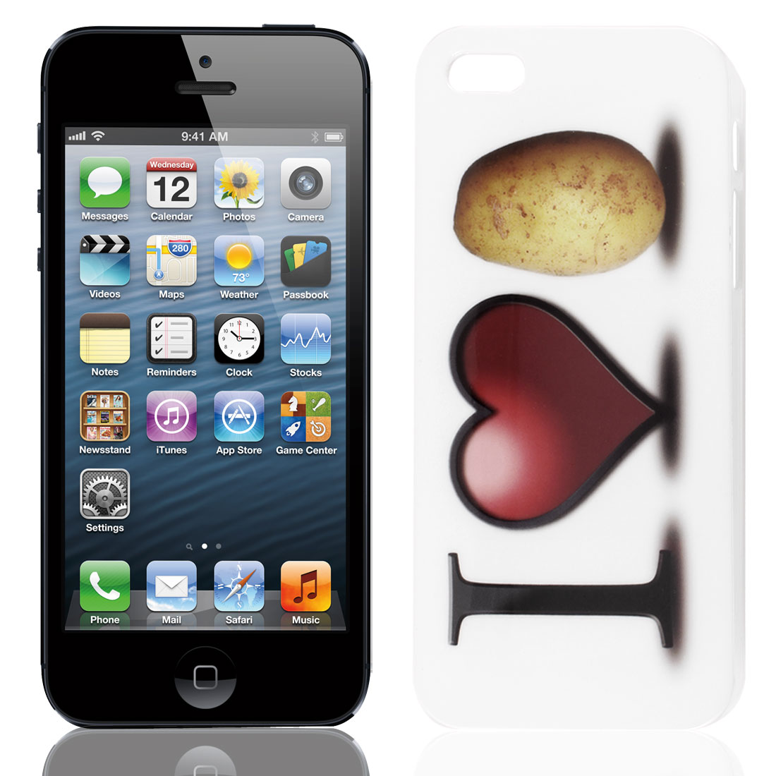 Heart Pattern White IMD Hard Plastic Back Case for iPhone 5 5G