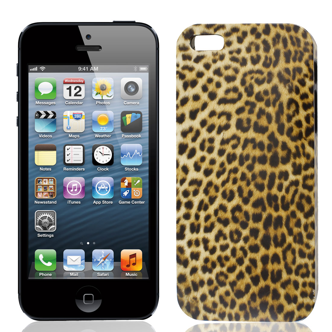 Leopard Print Brown Black IMD Hard Plastic Back Case Cover for Apple iPhone 5 5G