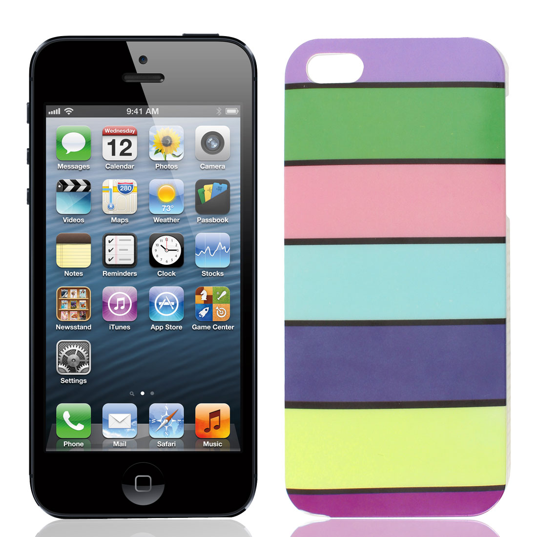 Multicolor Strip Print IMD Hard Plastic Back Case Cover for Apple iPhone 5 5G