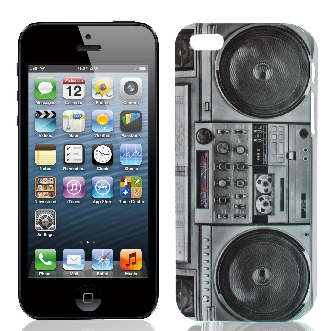 Radio Cassette Player Pattern Gray IMD Hard Back Case Cover for iPhone 5 5G