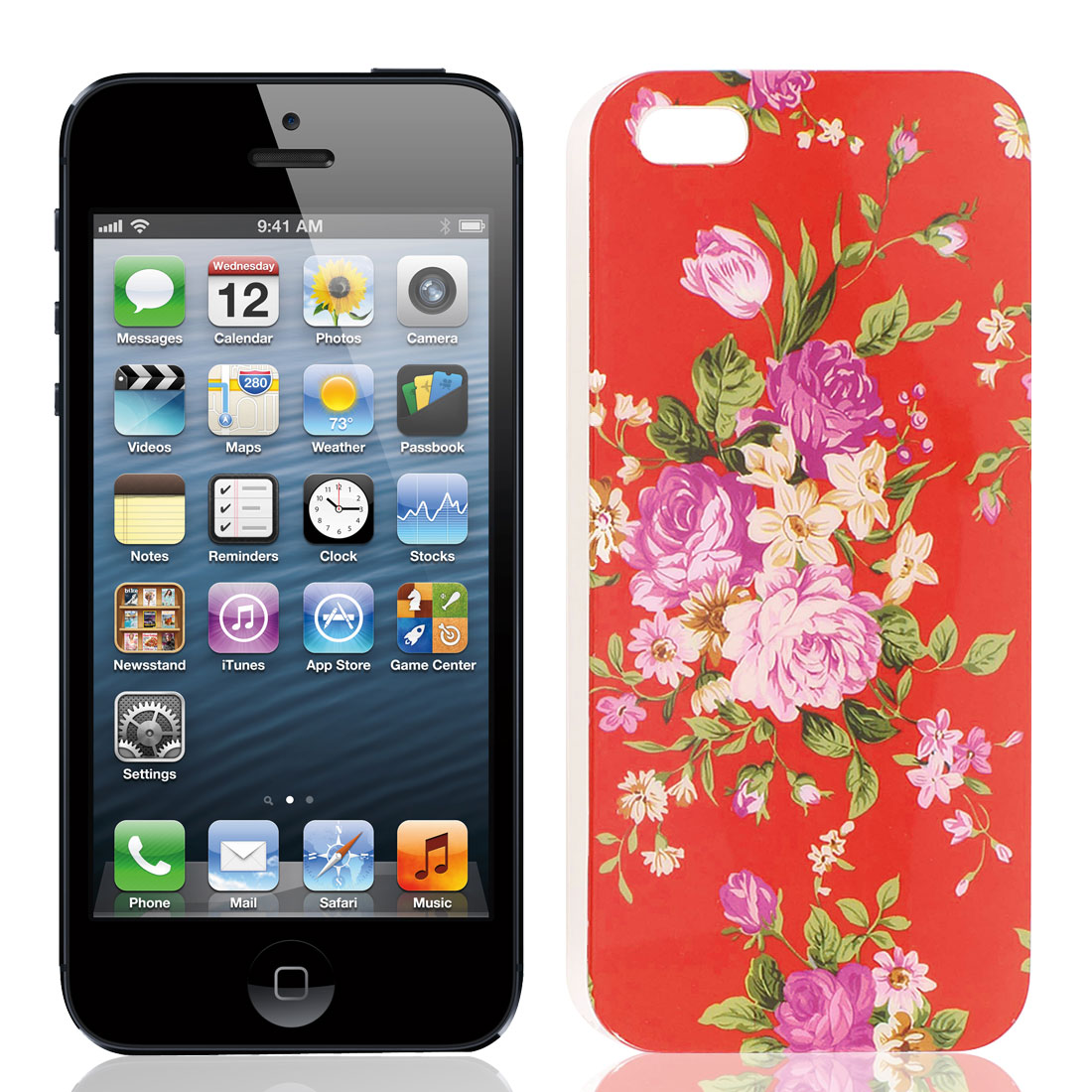 Flower Print Red Hard Plastic IMD Back Case Cover for iPhone 5 5G