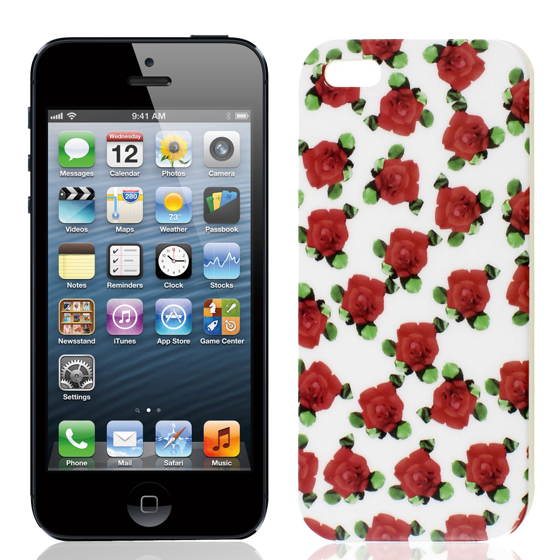 Red Flower Pattern TPU Soft Plastic IMD Back Case Cover for Apple iPhone 5 5G