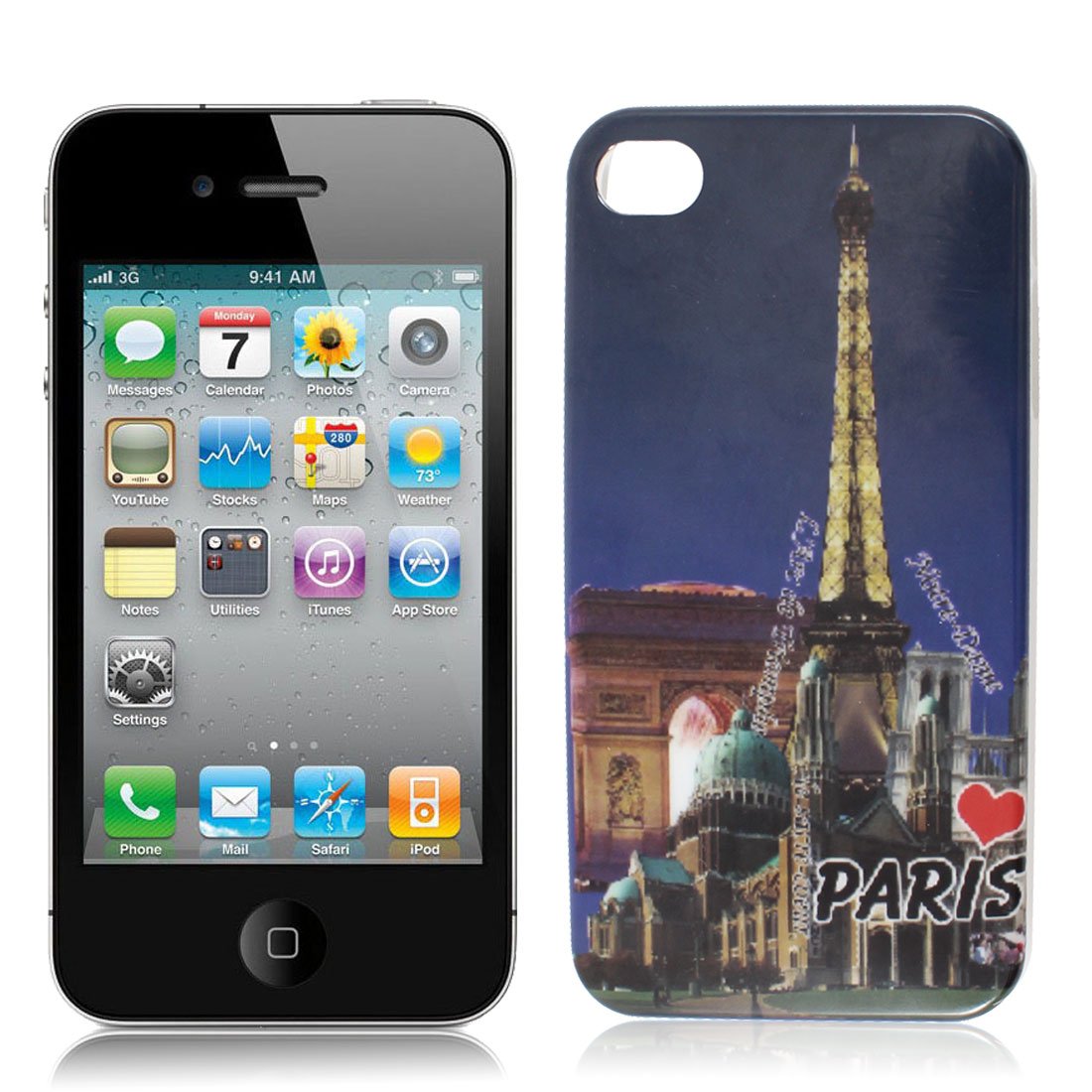 Paris Landmark Pattern Dark Blue Background IMD Hard Back Case Cover for iPhone 4G 4S