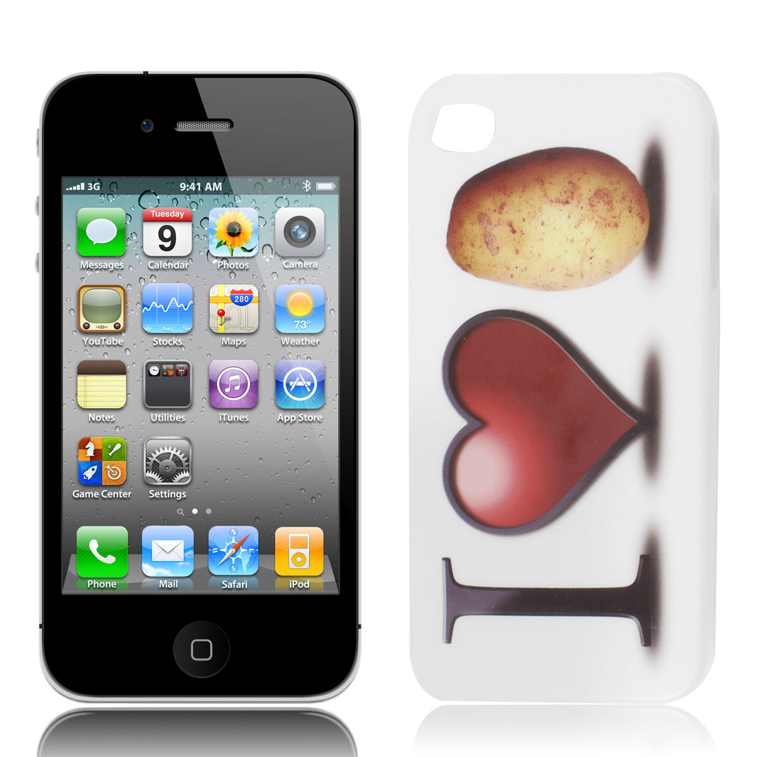 I Love Potato Pattern IMD Hard Back Case Cover White for iPhone 4G 4S