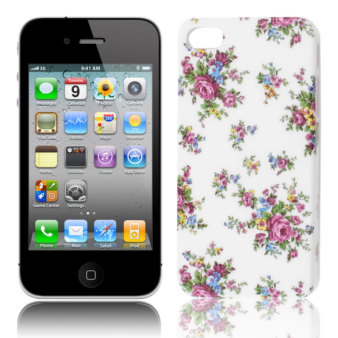 Floral Pattern White Background IMD Hard Back Case Cover for iPhone 4 4G 4GS