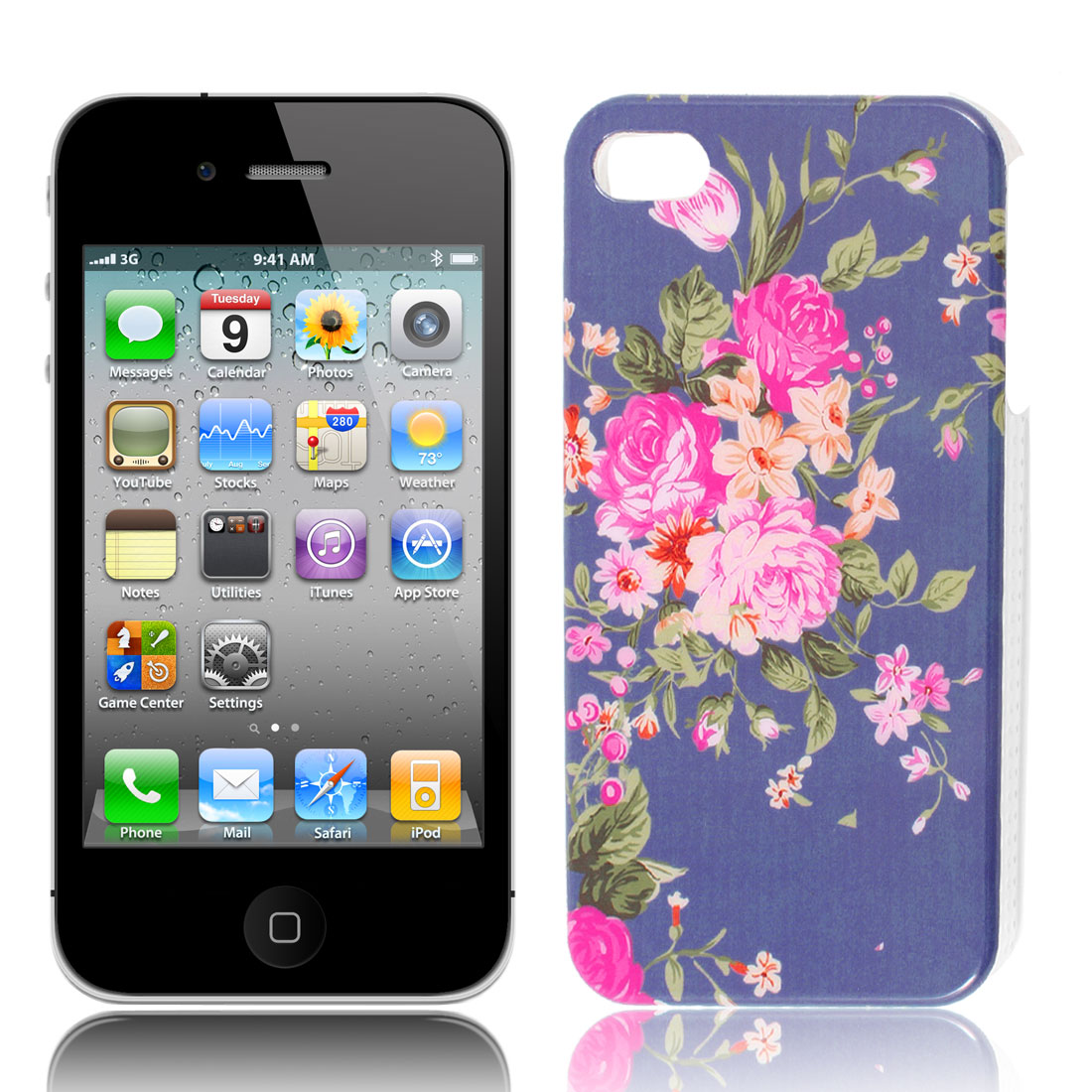 Floral Pattern Blue Background IMD Hard Plastic Back Case Cover for iPhone 4 4G 4GS