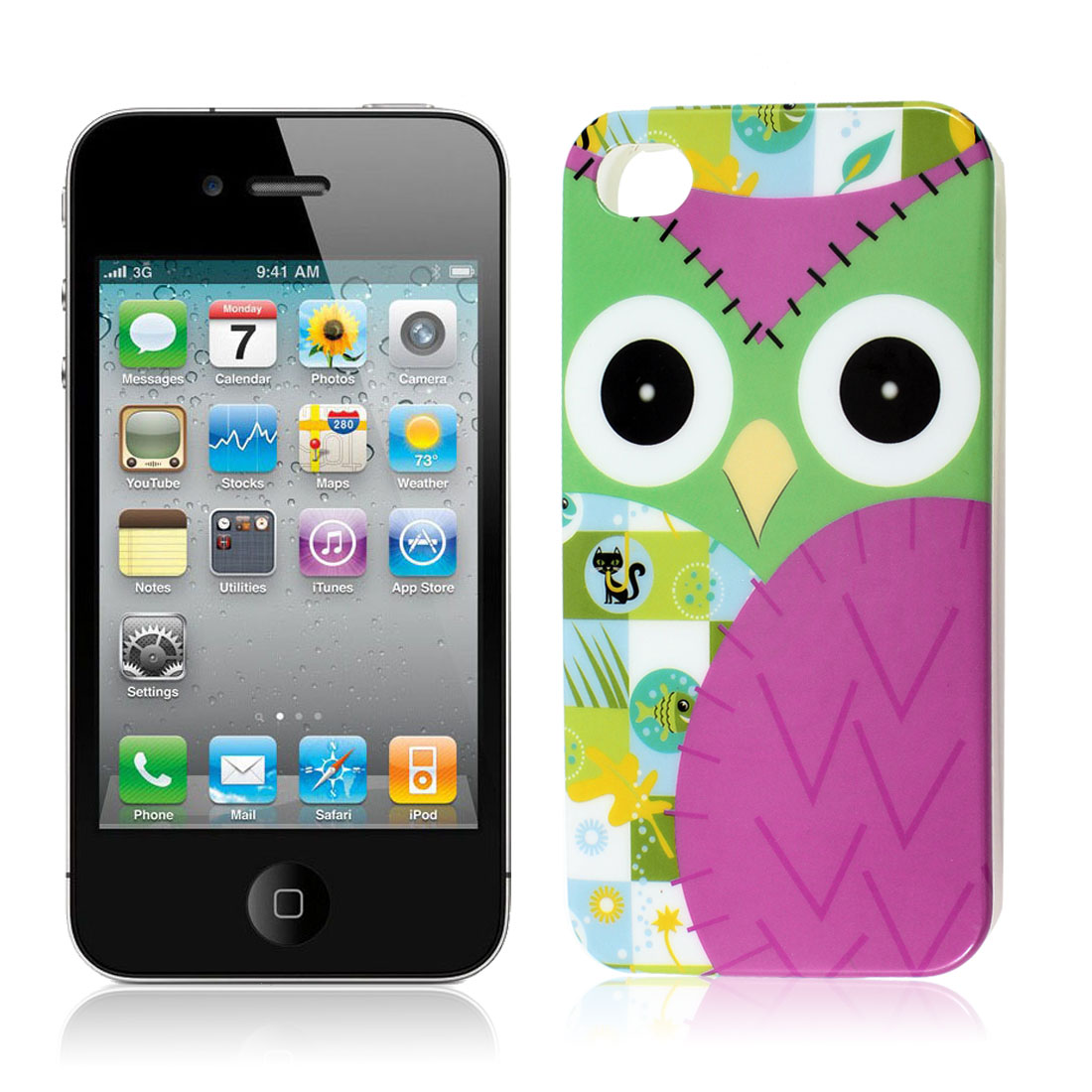 Colorful Cartoon Owl Print TPU Soft Plastic Back Case Cover for iPhone 4 4G 4GS