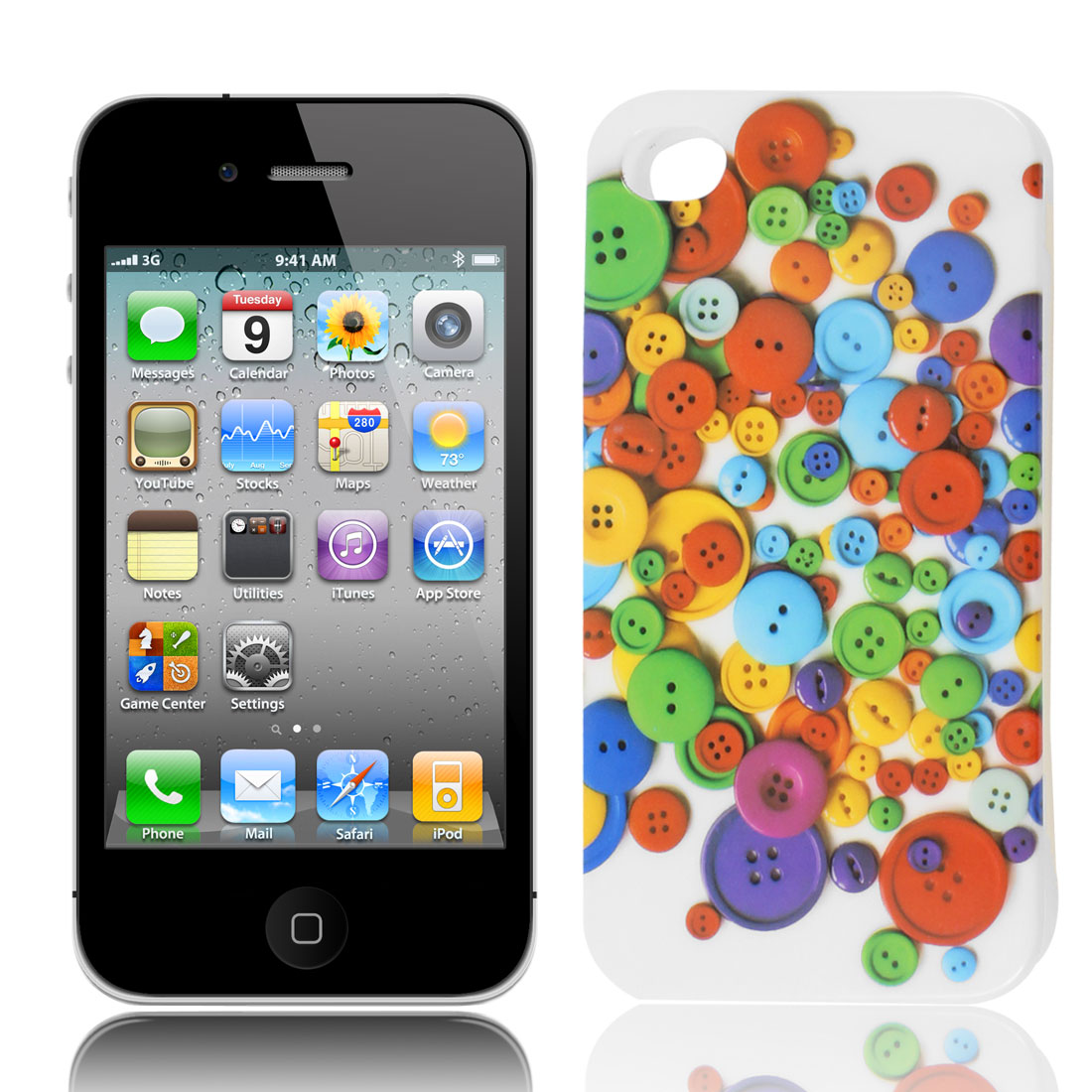 Colorful Clothing Button Print IMD TPU Soft Back Case Cover for iPhone 4 4G 4GS