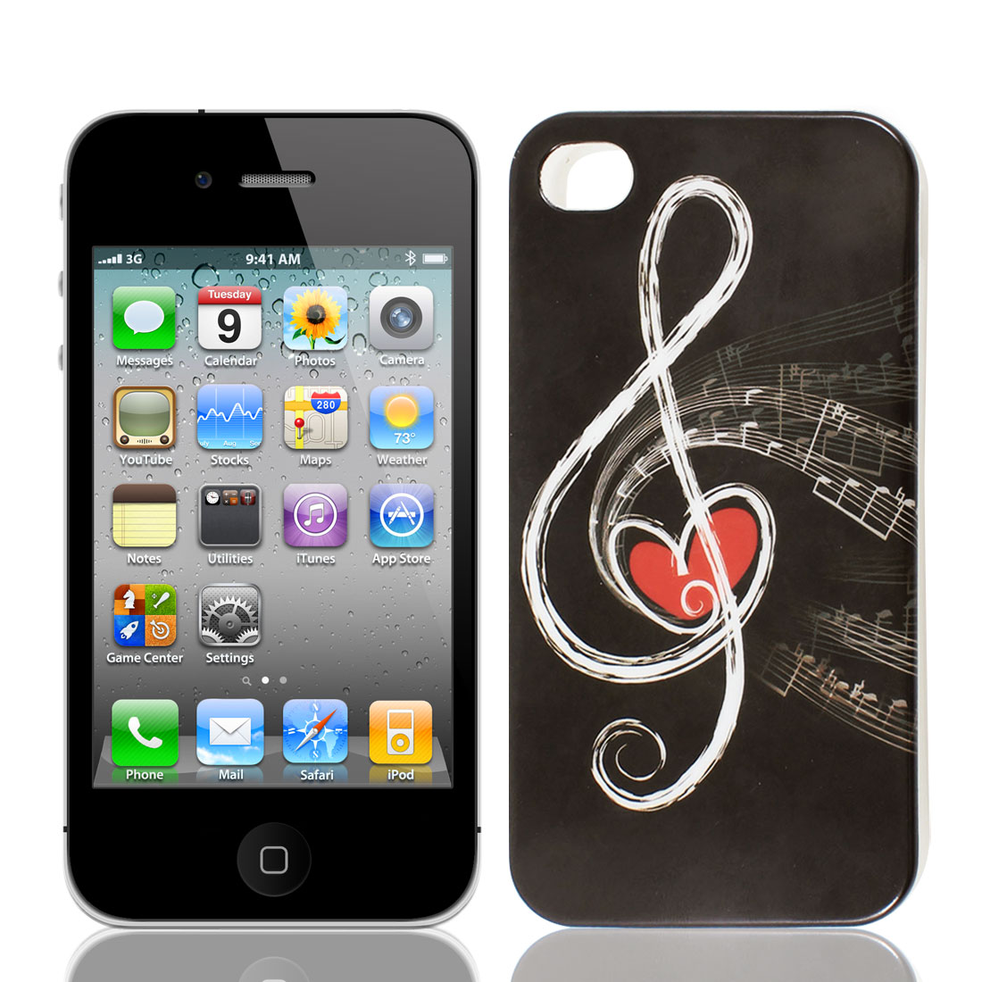 Musical Note Pattern IMD TPU Plastic Back Case Cover Chocolate Color for iPhone 4G 4GS