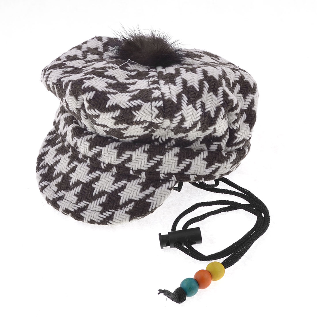 Size L Winter Warm Crochet Knitted Houndstooth Print Hat Cap Brown White for Pet Dog Puppy