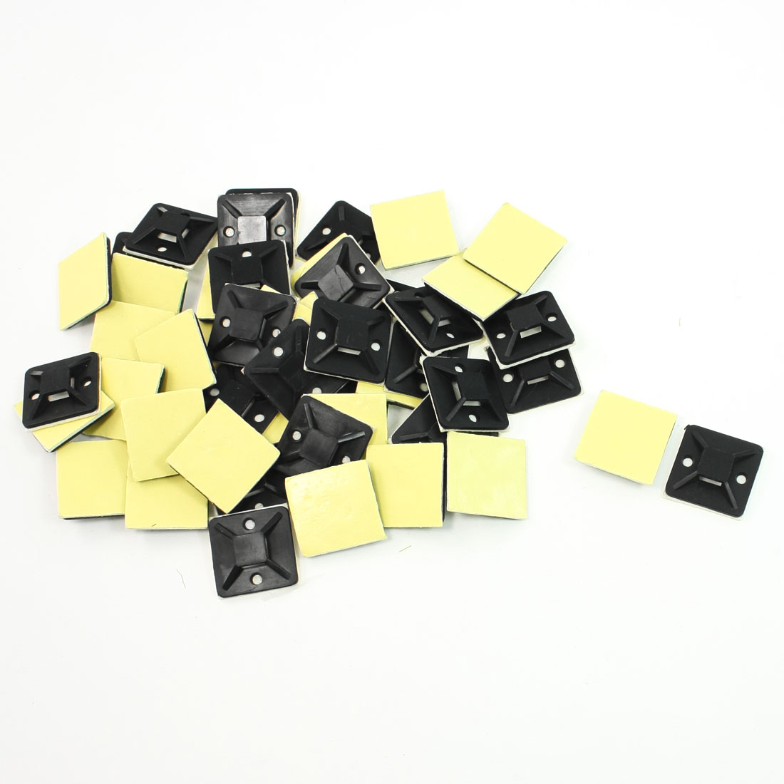 50 Pcs Plastic Black Self-adhesive 4 Way Tie Mounts Cable Base
