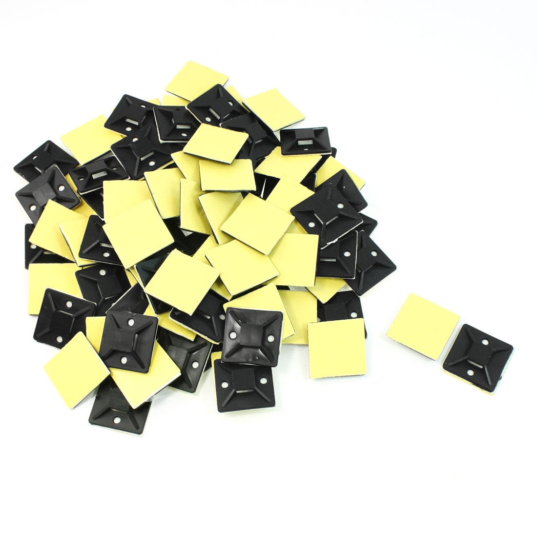 100 Pcs Black Hard Plastic Sticky Cable Tie Fixed Base