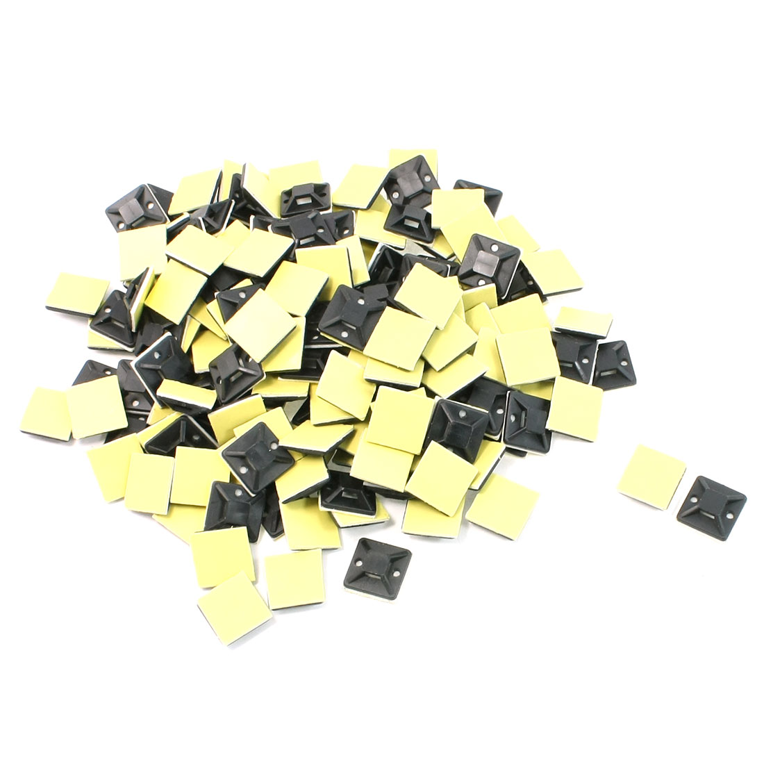 100 Pcs Black Self Adhesive Cable Tie Mount Base Holder 2 x 2 x 0.6cm
