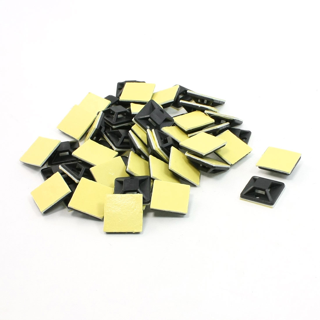 50 Pcs Black Self Adhesive Cable Tie Mount Base Holder 20 x 20 x 6mm