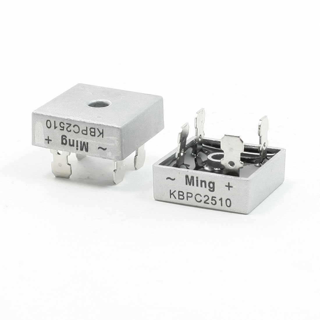2 Pcs Square Silver Tone Head 1000V 25A Full Wave Bridge Rectifier