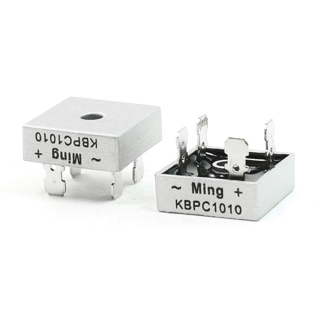 2 Pcs Ming KBPC1010 1000 Volt Bridge Rectifier Metal Case 1000V 10A Diode Bridge