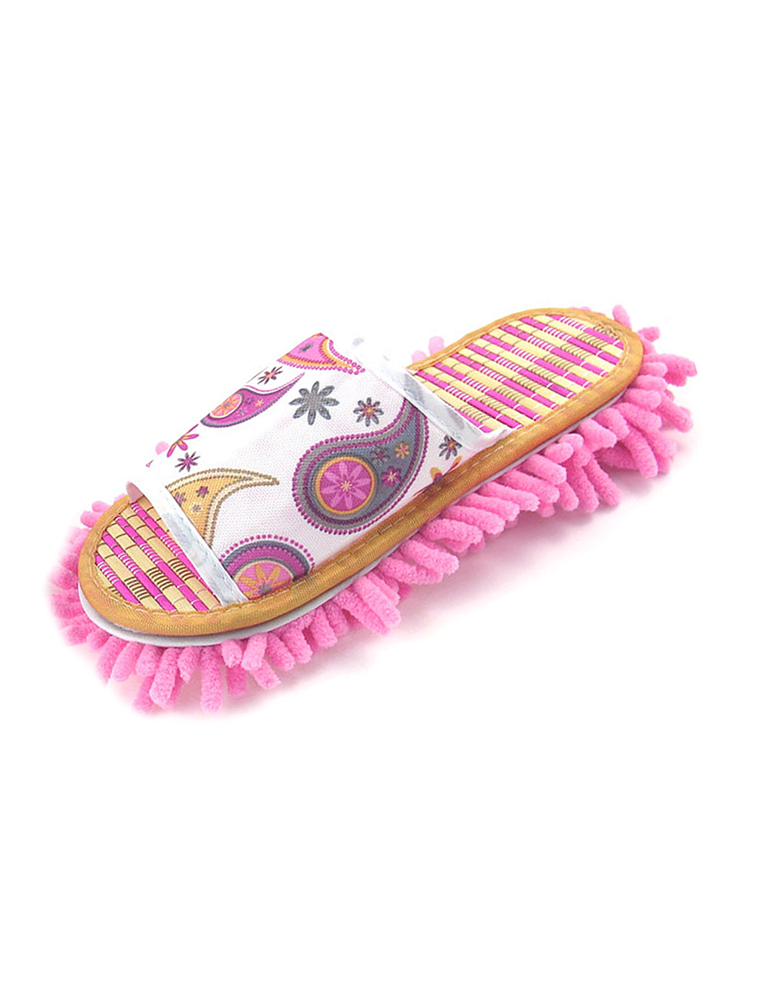 Ladies Pink Opening Toe Design Bamboo Insole Mop Slippers Shoes UK 4