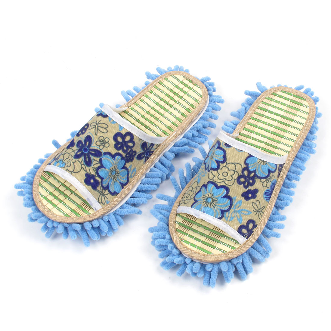 Pair Light Blue Open Toe Backless Mop Slippers 42 for Lady