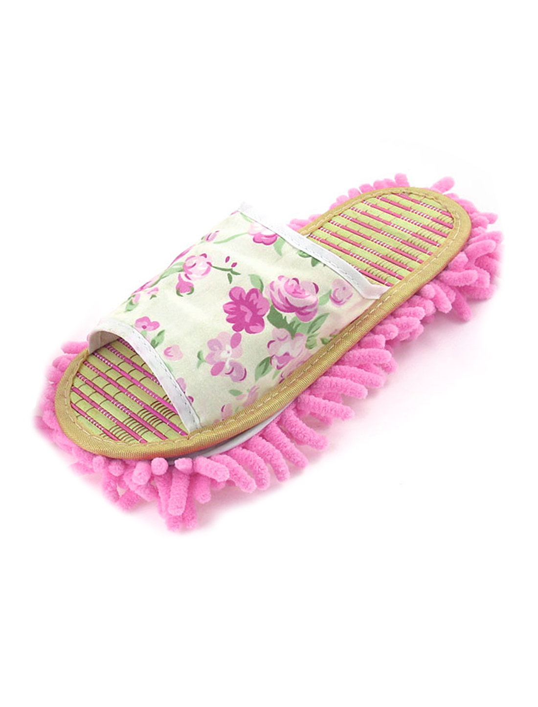 Women Bamboo Insole Flower Pattern Cleaning Floor Mop Slippers Shoes EU 37.5