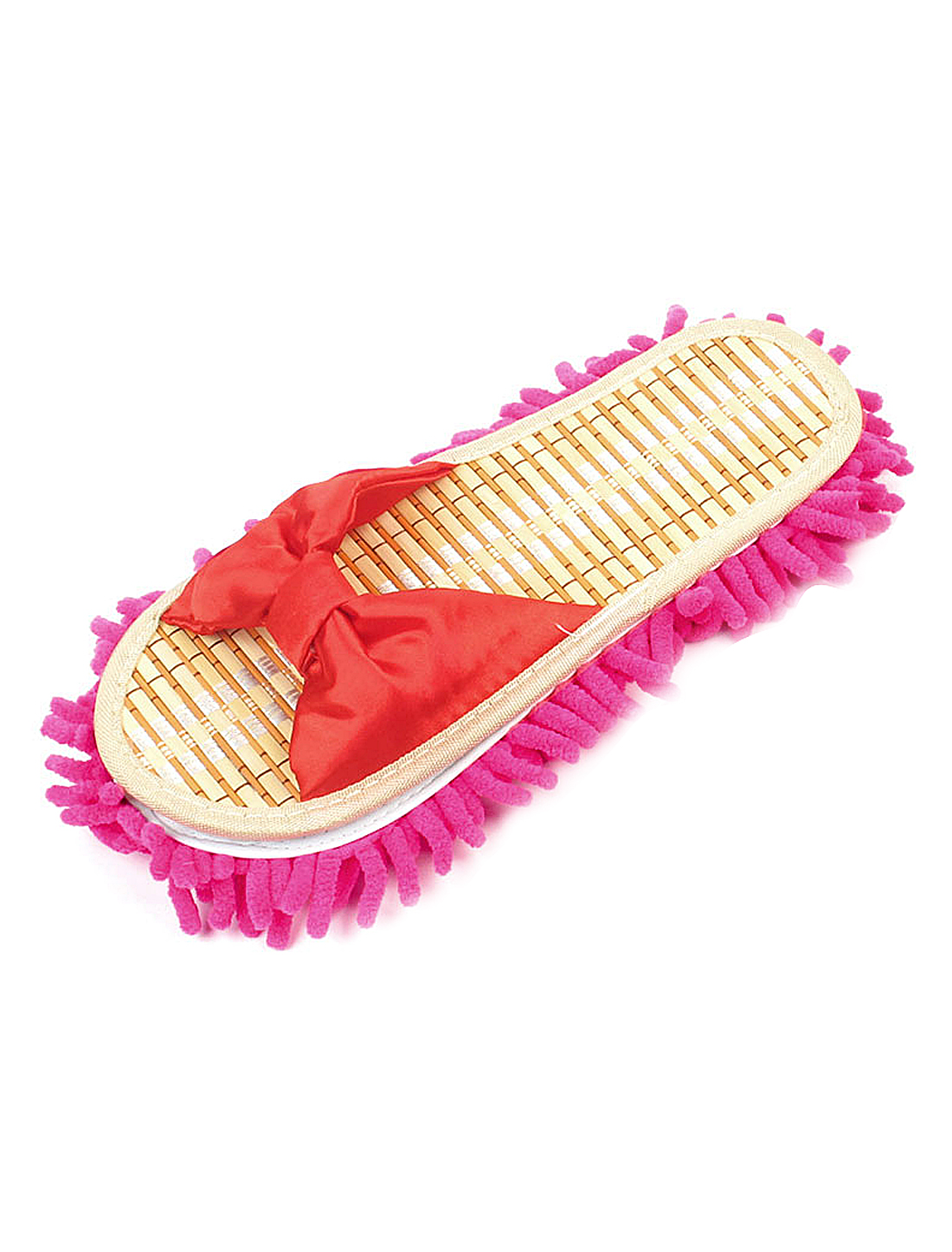 Women Bowtie Accent Floor Cleaning Mop Slippers Shoes 44 Red