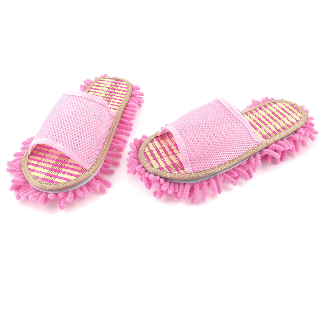 Pink Netty Upper Cotton Blends Outsole Home Floor Cleaner Mop Slippers UK 6.5